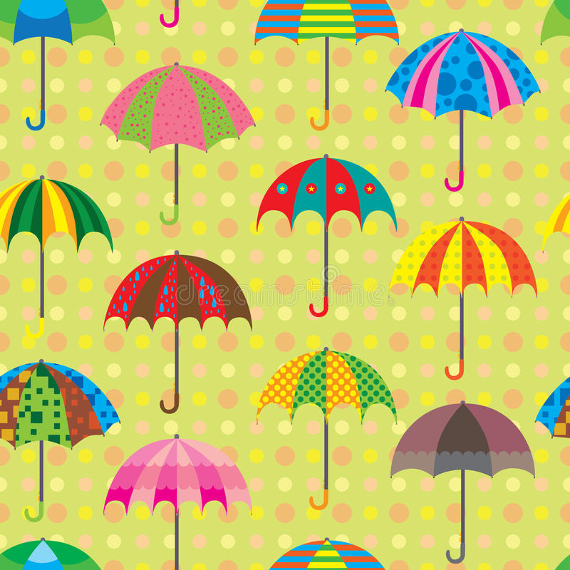 Καθορισμένο άνευ ραφής σχέδιο σχεδίου ομπρελών διανυσματική απεικόνιση