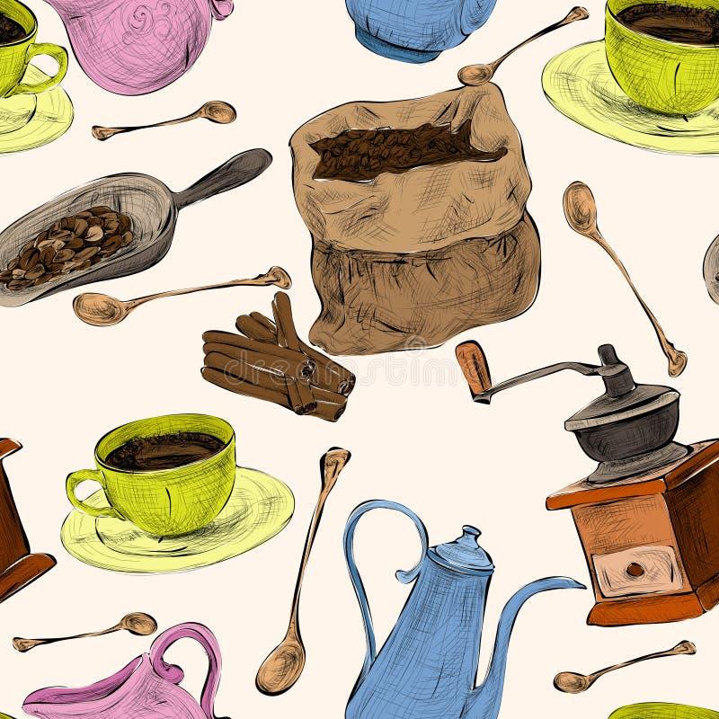 Καθορισμένο άνευ ραφής χρωματισμένο σχέδιο καφέ απεικόνιση αποθεμάτων
