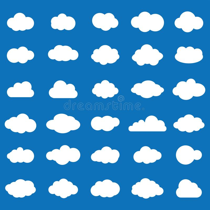 Καθορισμένο άσπρο χρώμα εικονιδίων σύννεφων στο μπλε υπόβαθρο Ουρανός επίπεδο ι ελεύθερη απεικόνιση δικαιώματος