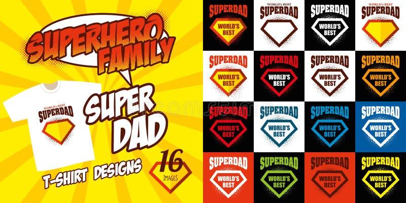 Καθορισμένο έξοχο σχέδιο μπλουζών superhero λογότυπων μπαμπάδων διανυσματική απεικόνιση