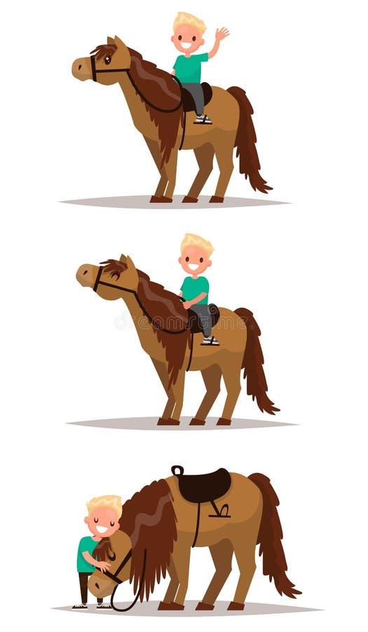 Καθορισμένο αγόρι με ένα άλογο Αγόρι που οδηγά στην πλάτη αλόγου Αγόρι που αγκαλιάζει ένα hor ελεύθερη απεικόνιση δικαιώματος