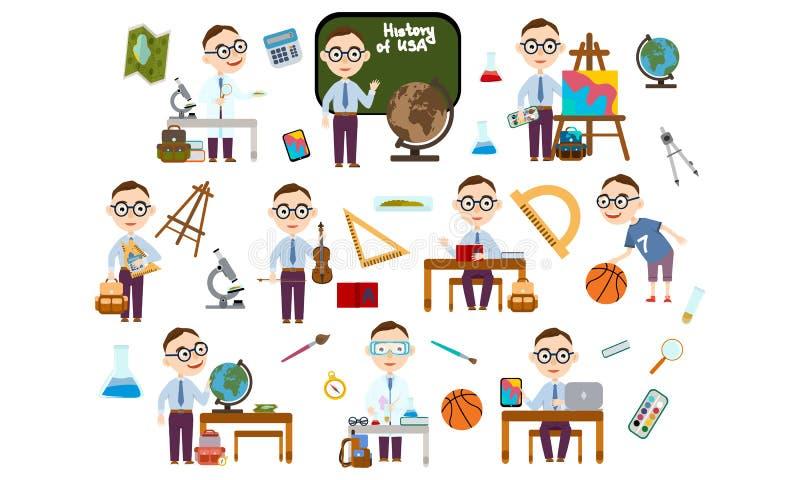 Καθορισμένο αγόρι με τα γυαλιά Σπουδαστής στα διαφορετικά μαθήματα διανυσματική απεικόνιση