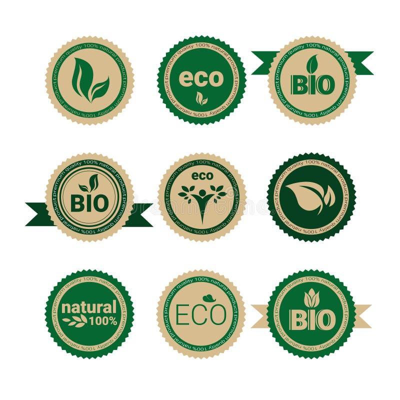Καθορισμένο αναδρομικό πράσινο λογότυπο εικονιδίων Ιστού φυσικών προϊόντων Eco φιλικό οργανικό διανυσματική απεικόνιση