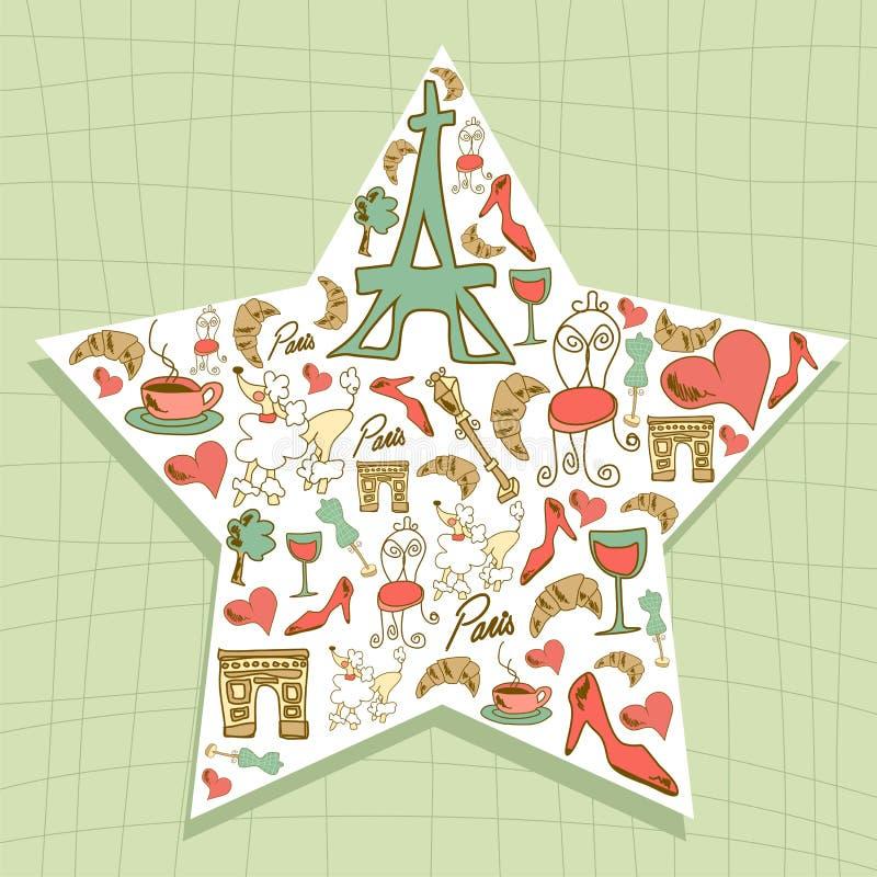 Καθορισμένο αστέρι εικονιδίων του Παρισιού ταξιδιού απεικόνιση αποθεμάτων