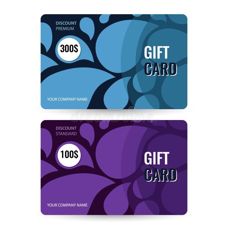 Καθορισμένο ασφάλιστρο και τυποποιημένη κάρτα δώρων Μπλε και ιώδεις πτώσεις στο μαύρο υπόβαθρο ελεύθερη απεικόνιση δικαιώματος
