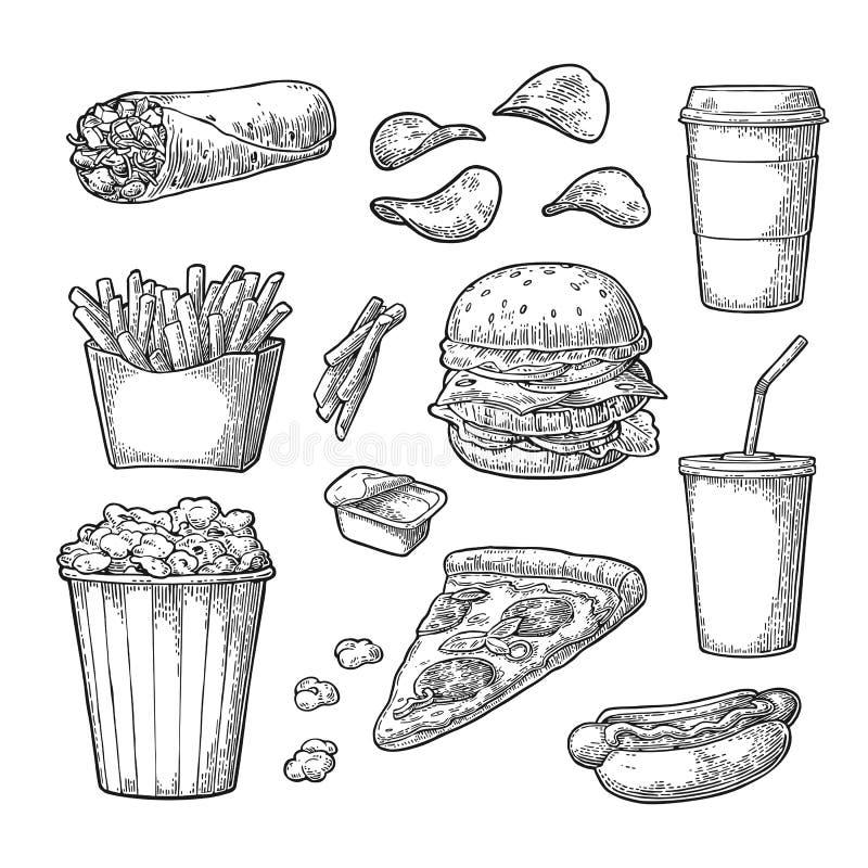 Καθορισμένο γρήγορο φαγητό Καφές, χάμπουργκερ, πίτσα, χοτ ντογκ, πατάτα τηγανητών, popcorn διανυσματική απεικόνιση