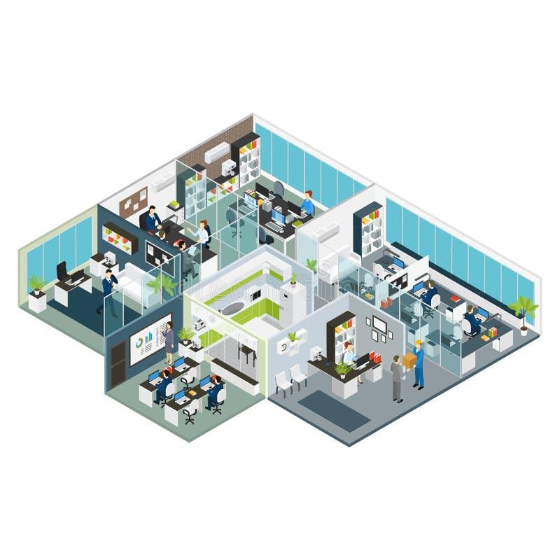 Καθορισμένο γραφείο δωματίων Isometric διανυσματική απεικόνιση