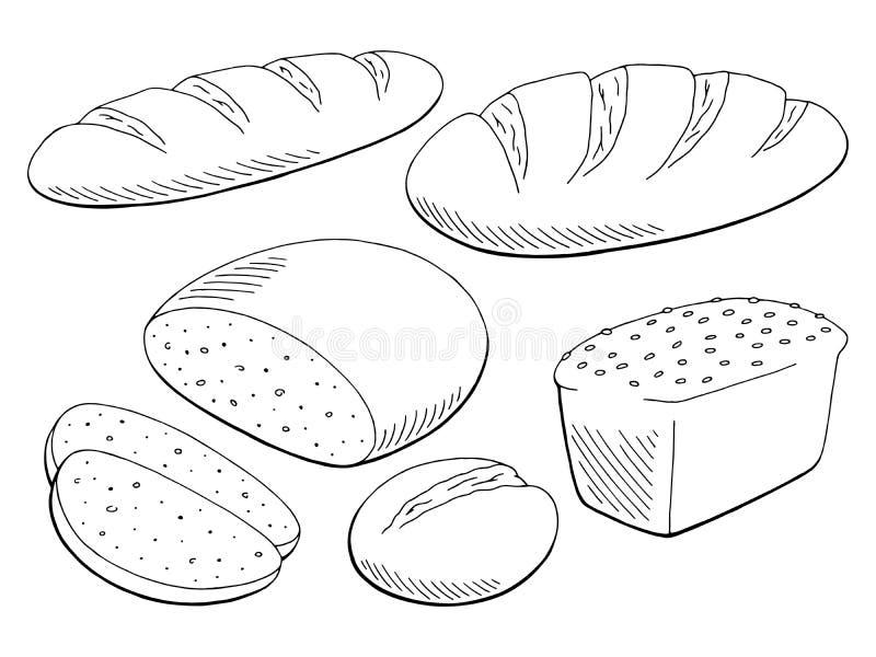 Καθορισμένο γραφικό μαύρο απομονωμένο λευκό διάνυσμα απεικόνισης σκίτσων τροφίμων ψωμιού διανυσματική απεικόνιση