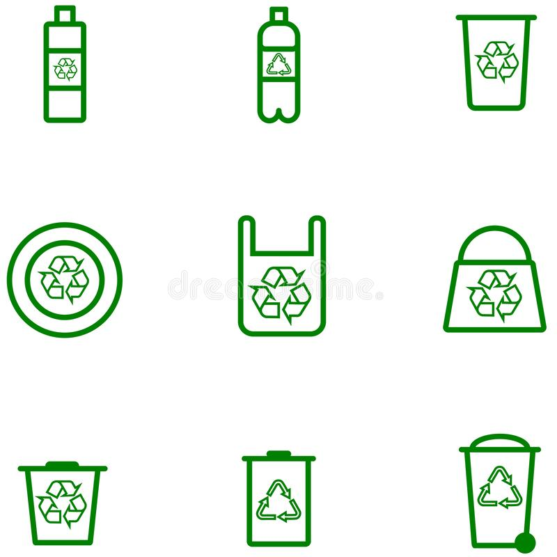 Καθορισμένο διάνυσμα αποθεμάτων εικονιδίων οικολογίας των πλαστικών προϊόντων απεικόνιση αποθεμάτων