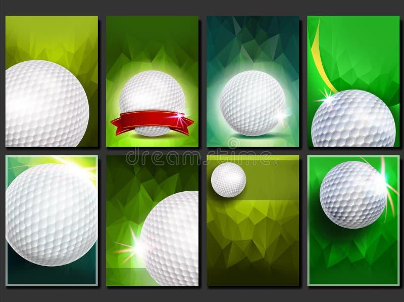 Καθορισμένο διάνυσμα αφισών γκολφ Κενό πρότυπο για το σχέδιο προώθηση γκολφ σφαιρών που χτυπά την κίνηση σιδήρου Σύγχρονα πρωταθλ διανυσματική απεικόνιση