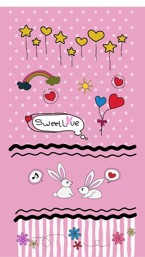 Καθορισμένο διάνυσμα βαλεντίνων doodles - μέρη των χαριτωμένων στοιχείων σχεδίου - διανυσματική απεικόνιση