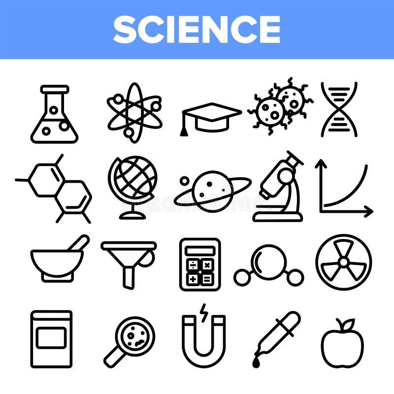 Καθορισμένο διάνυσμα εικονιδίων γραμμών επιστήμης Γραφική σκιαγραφία ανάλυσης Εργαστηριακά εικονίδια επιστήμης Λεπτύντε την απεικ ελεύθερη απεικόνιση δικαιώματος