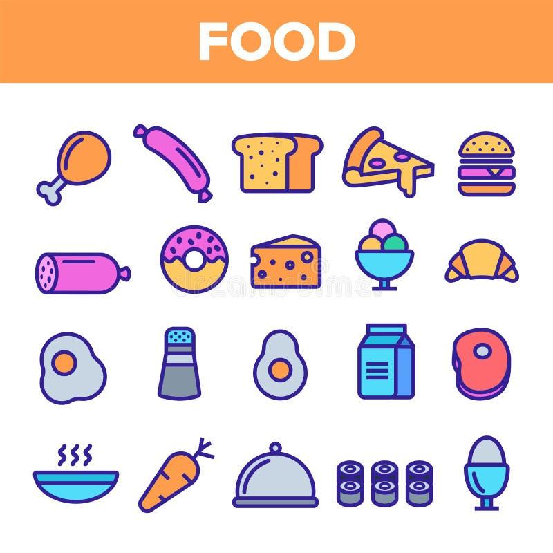 Καθορισμένο διάνυσμα εικονιδίων γραμμών τροφίμων Εικονίδια τροφίμων προγευμάτων εγχώριων κουζινών Εικονόγραμμα επιλογών Fesh που  απεικόνιση αποθεμάτων