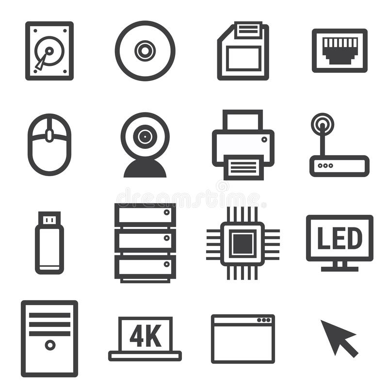 Καθορισμένο διάνυσμα εικονιδίων υπολογιστών στο άσπρο υπόβαθρο διανυσματική απεικόνιση