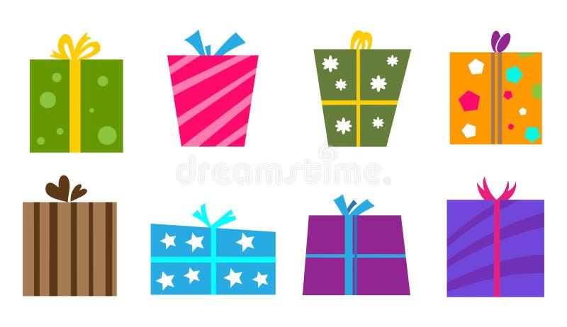 Καθορισμένο διάνυσμα κιβωτίων δώρων Σύνολο διανυσματικών κιβωτίων δώρων ελεύθερη απεικόνιση δικαιώματος