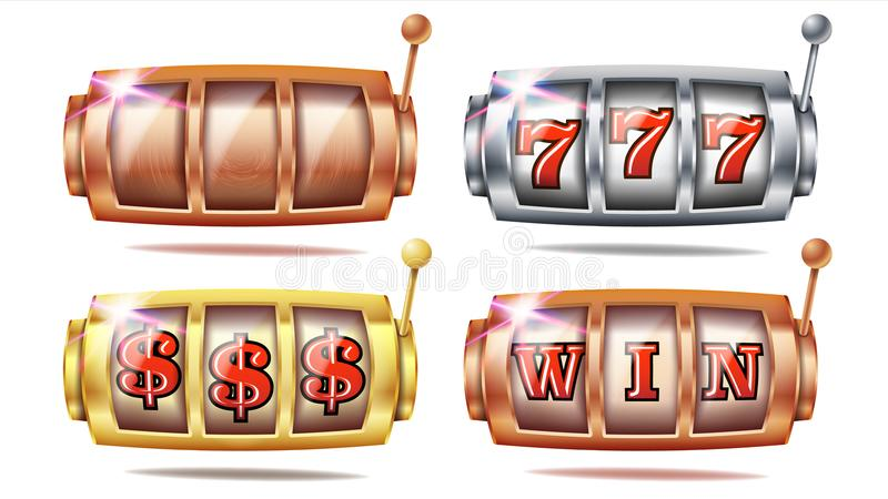 Καθορισμένο διάνυσμα μηχανημάτων τυχερών παιχνιδιών με κέρματα 777 Χρυσός, ασημένιος, χαλκός Παίζοντας αφίσα Αντικείμενο περιστρο απεικόνιση αποθεμάτων