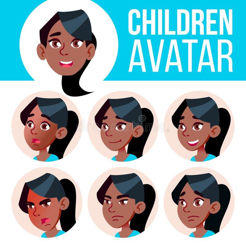 Καθορισμένο διάνυσμα παιδιών ειδώλων κοριτσιών μαύρα Afro Αμερικανός Γυμνάσιο Αντιμετωπίστε τις συγκινήσεις Επίπεδος, πορτρέτο Χα ελεύθερη απεικόνιση δικαιώματος