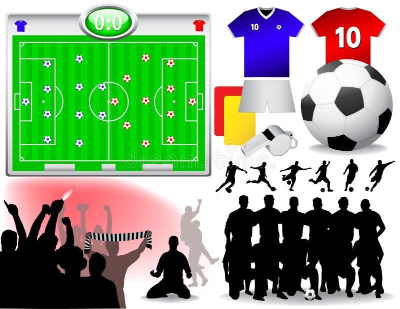 καθορισμένο διάνυσμα ποδοσφαίρου ελεύθερη απεικόνιση δικαιώματος