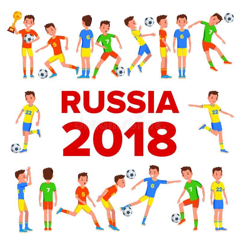 Καθορισμένο διάνυσμα ποδοσφαιριστών 2018 Παγκόσμιο Κύπελλο της FIFA Γεγονός της Ρωσίας Οι ποδοσφαιριστές θέτουν ποδόσφαιρο γυαλιο διανυσματική απεικόνιση