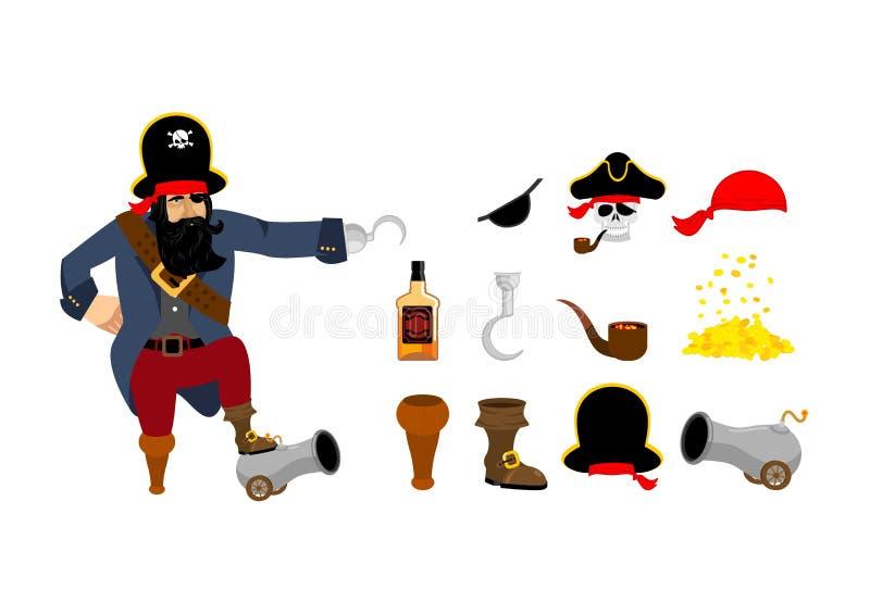 καθορισμένο διάνυσμα ράστερ πειρατών απεικόνισης πειρατές καπέλων Μπάλωμα ματιών και καπνίζοντας σωλήνας Κόκκαλα και s απεικόνιση αποθεμάτων