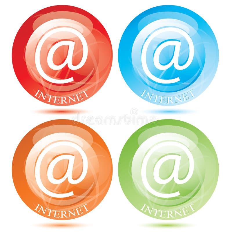 καθορισμένο διάνυσμα συμβόλων ταχυδρομείου κουμπιών ε Διαδίκτυο απεικόνιση αποθεμάτων