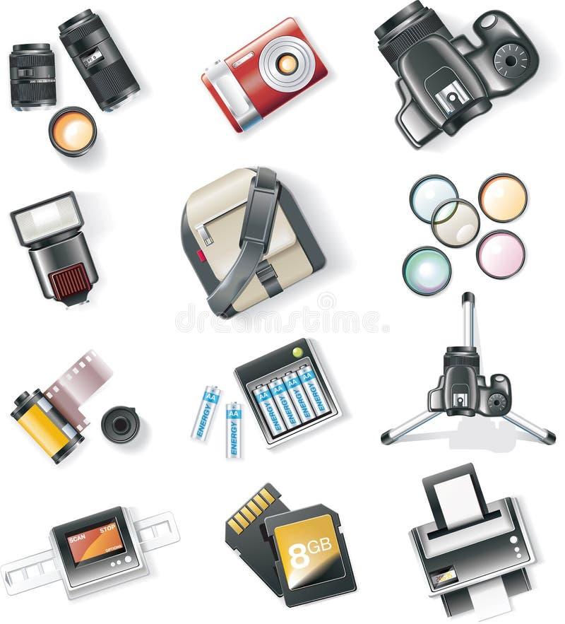 καθορισμένο διάνυσμα φωτογραφίας εικονιδίων εξοπλισμού διανυσματική απεικόνιση