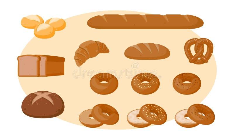 Καθορισμένο διανυσματικό σχέδιο εικονιδίων ψωμιού απεικόνιση αποθεμάτων