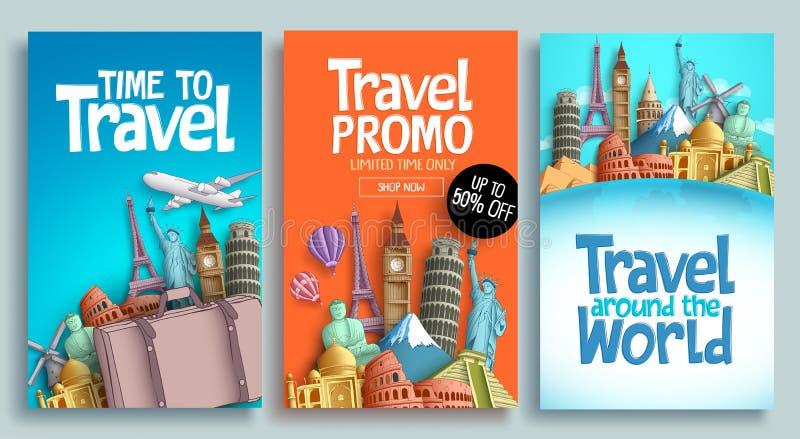 Καθορισμένο διανυσματικό σχέδιο προτύπων αφισών ταξιδιού με το κείμενο promo ελεύθερη απεικόνιση δικαιώματος