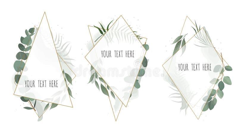 Καθορισμένο διανυσματικό floral βοτανικό σχέδιο καρτών με τα φύλλα με το χρυσό γεωμετρικό πλαίσιο ελεύθερη απεικόνιση δικαιώματος