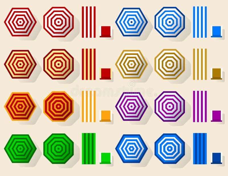 Καθορισμένο εικονίδιο παραλιών ομπρελών Γεωμετρικός, απλός και επίπεδος διανυσματική απεικόνιση