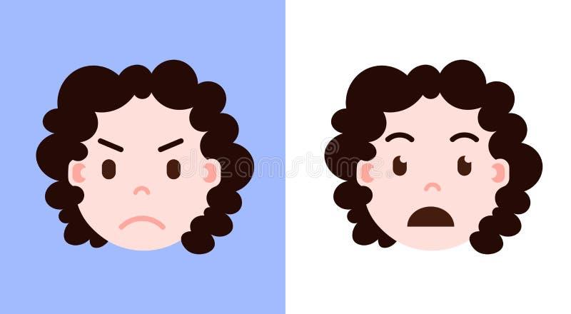 Καθορισμένο εικονίδιο προσωπικοτήτων emoji κοριτσιών επικεφαλής με το του προσώπου, περίλυπου και έκπληκτου πρόσωπο συγκινήσεων,  απεικόνιση αποθεμάτων
