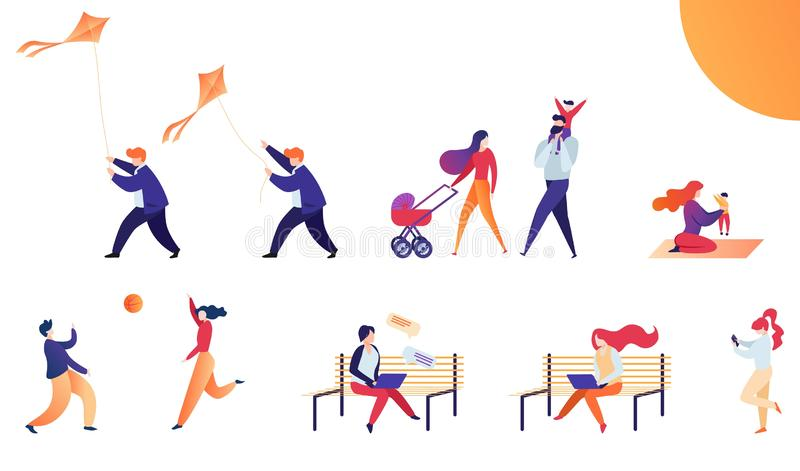 Καθορισμένο επίπεδο διανυσματικό Σαββατοκύριακο απεικόνισης υπαίθρια ελεύθερη απεικόνιση δικαιώματος