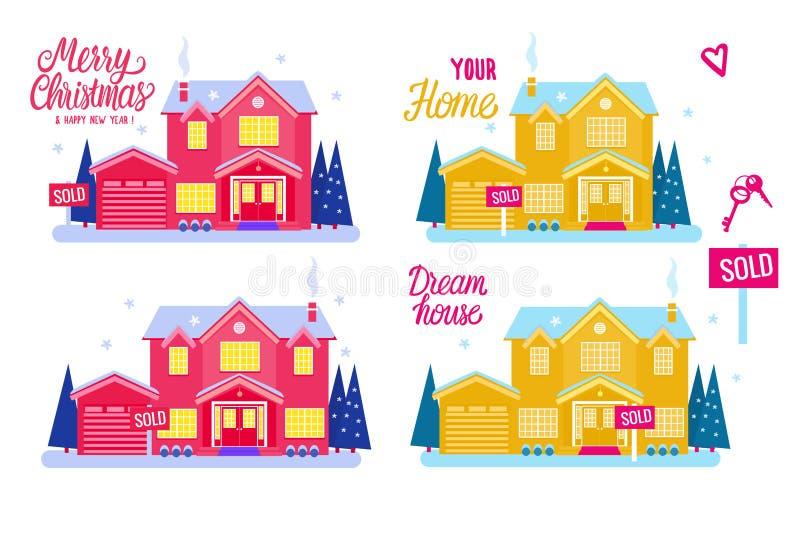 Καθορισμένο επίπεδο σπίτι δύο εξοχικό σπίτι ιστορίας για την πώληση σημάδι που πωλείται Διανυσματική απεικόνιση που απομονώνεται  διανυσματική απεικόνιση