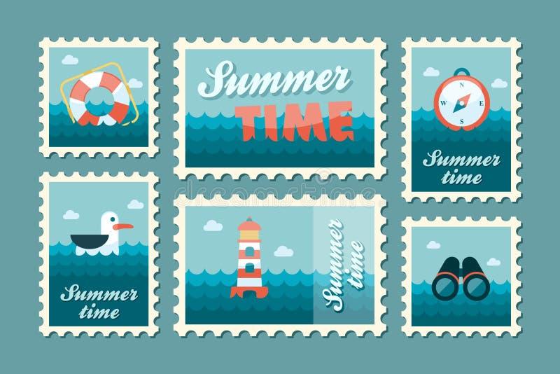 Καθορισμένο επίπεδο γραμματοσήμων καλοκαιριού θαλάσσιο διανυσματική απεικόνιση