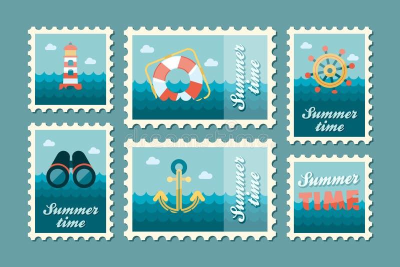 Καθορισμένο επίπεδο γραμματοσήμων καλοκαιριού θαλάσσιο απεικόνιση αποθεμάτων