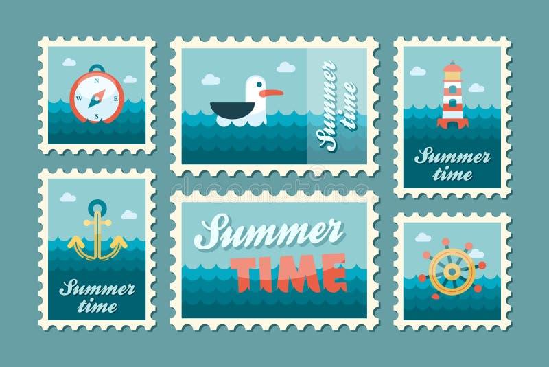 Καθορισμένο επίπεδο γραμματοσήμων καλοκαιριού θαλάσσιο ελεύθερη απεικόνιση δικαιώματος