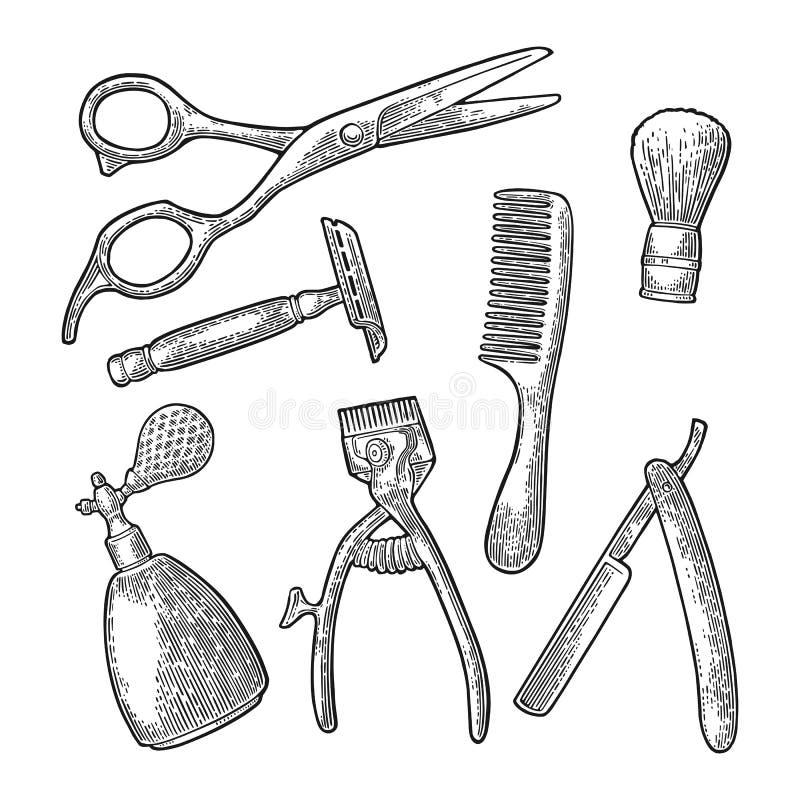 Καθορισμένο εργαλείο για BarberShop Διανυσματική μαύρη εκλεκτής ποιότητας χάραξη διανυσματική απεικόνιση