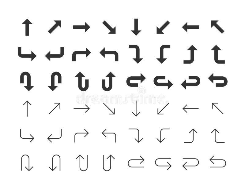 καθορισμένο διάνυσμα απεικόνισης βελών Μαύρα εικονίδια στο άσπρο υπόβαθρο απεικόνιση αποθεμάτων