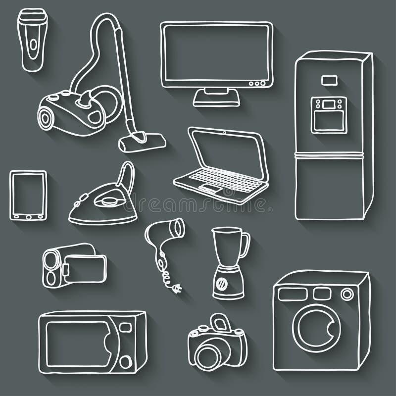καθορισμένο διάνυσμα απεικόνισης εικονιδίων ηλεκτρονικής ελεύθερη απεικόνιση δικαιώματος