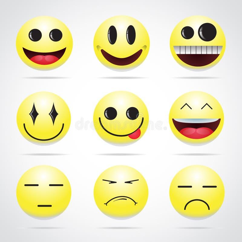 καθορισμένο διάνυσμα απεικόνισης emoticons χρωμάτων εύκολο editable στοκ εικόνες
