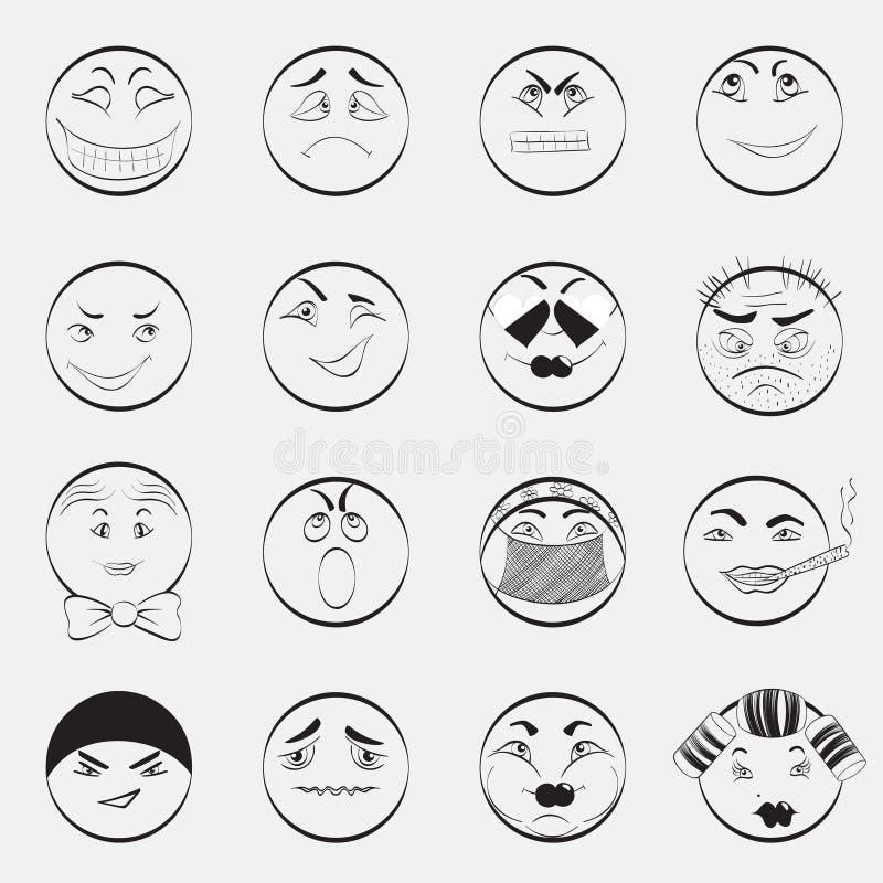 καθορισμένο διάνυσμα απεικόνισης emoticons χρωμάτων εύκολο editable διανυσματική απεικόνιση