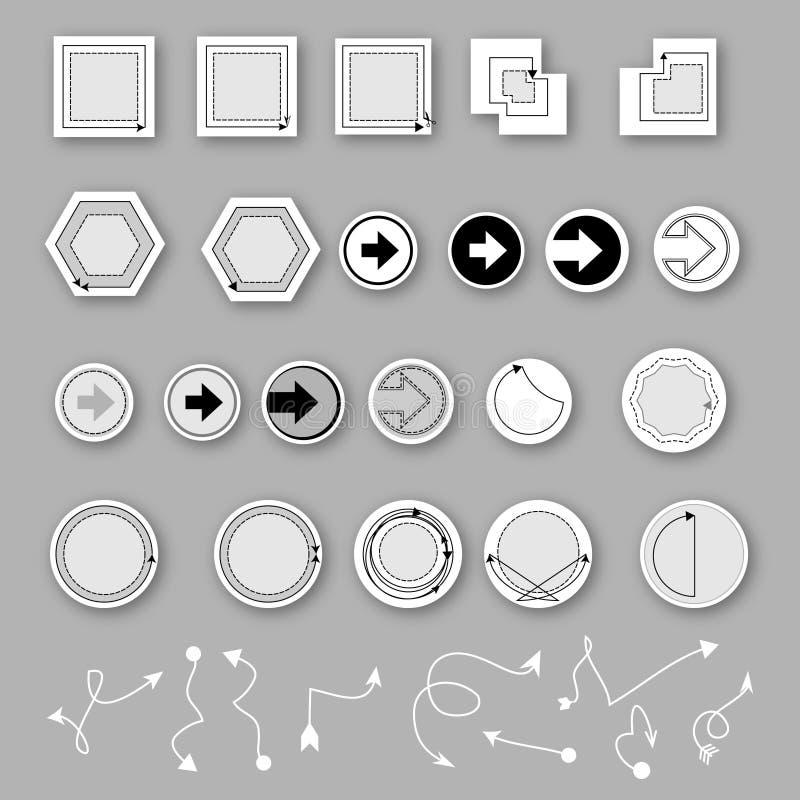Καθορισμένο διάνυσμα εικονιδίων σημαδιών βελών διανυσματική απεικόνιση