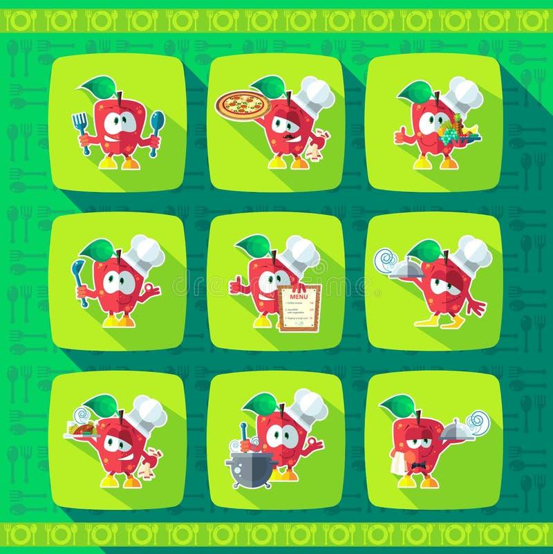 καθορισμένο διάνυσμα θέματος κουζινών απεικόνισης εικονιδίων Αστείοι μάγειρες - μήλα στο ύφος φ διανυσματική απεικόνιση