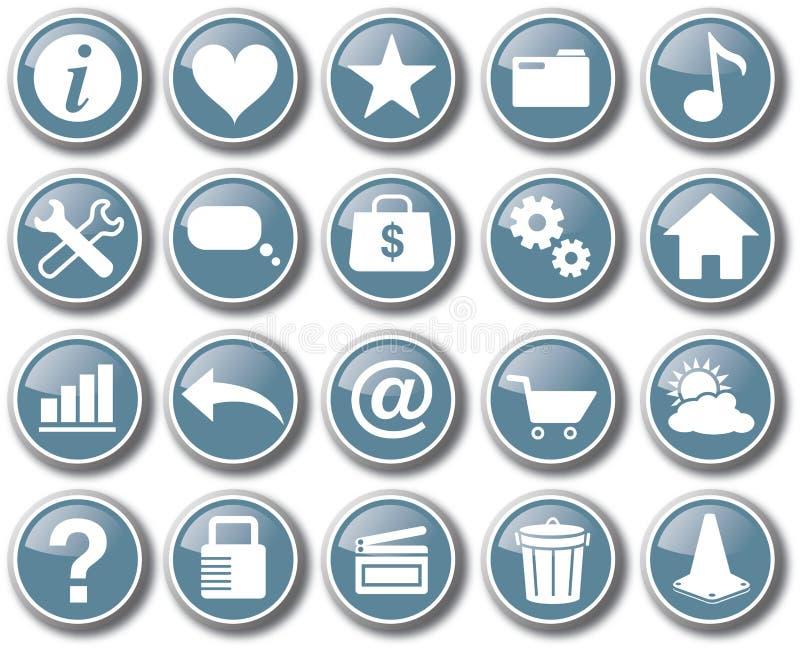 Καθορισμένο διάνυσμα κουμπιών εικονιδίων Ιστού Διαδικτύου διανυσματική απεικόνιση