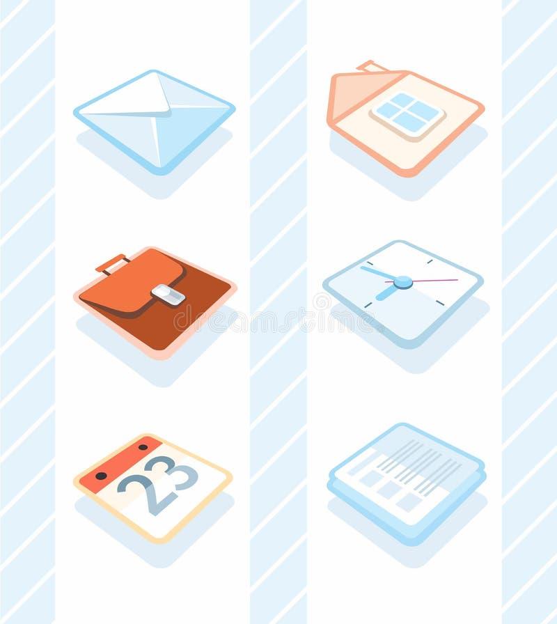 καθορισμένο διάνυσμα χαρτικών γραφείων απεικόνισης εικονιδίων απεικόνιση αποθεμάτων