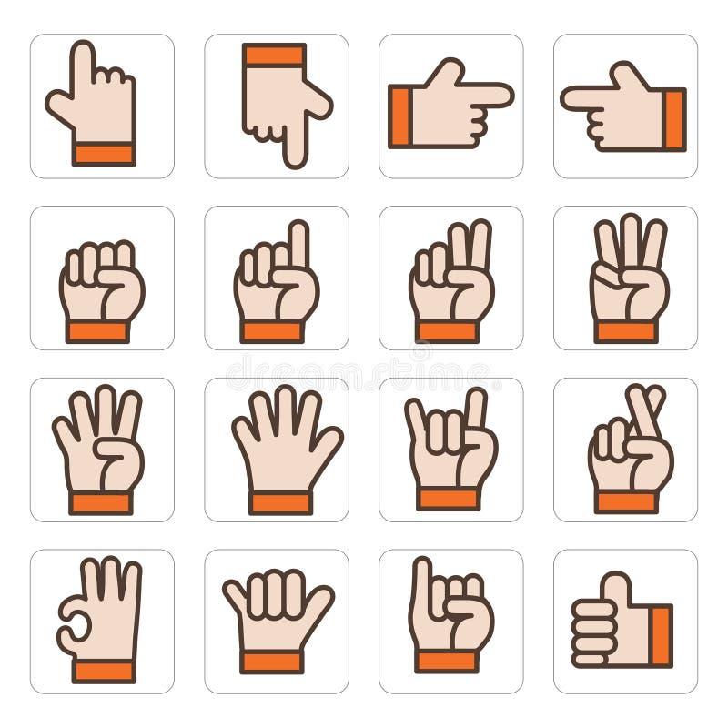 Καθορισμένο διάνυσμα χεριών εικονιδίων στοκ φωτογραφία με δικαίωμα ελεύθερης χρήσης