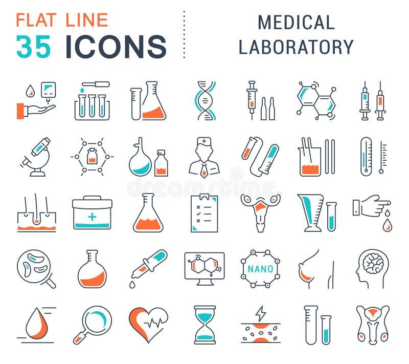 Καθορισμένο διανυσματικό επίπεδο ιατρικό εργαστήριο εικονιδίων γραμμών απεικόνιση αποθεμάτων