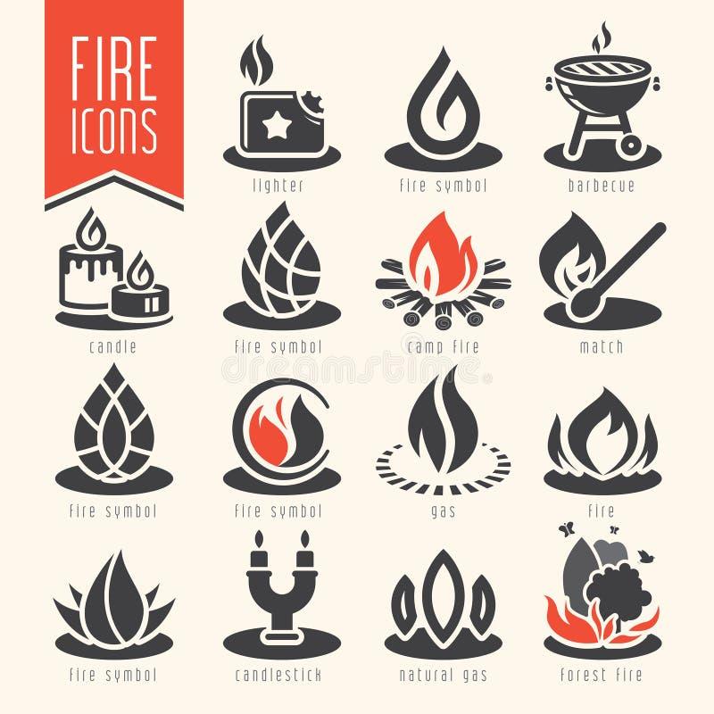 καθορισμένο διανυσματικό λευκό απεικόνισης εικονιδίων πυρκαγιάς ανασκόπησης μαύρο ελεύθερη απεικόνιση δικαιώματος