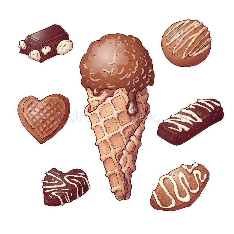 Καθορισμένο καρύδι σοκολάτας παγωτού, σχέδιο χεριών r διανυσματική απεικόνιση
