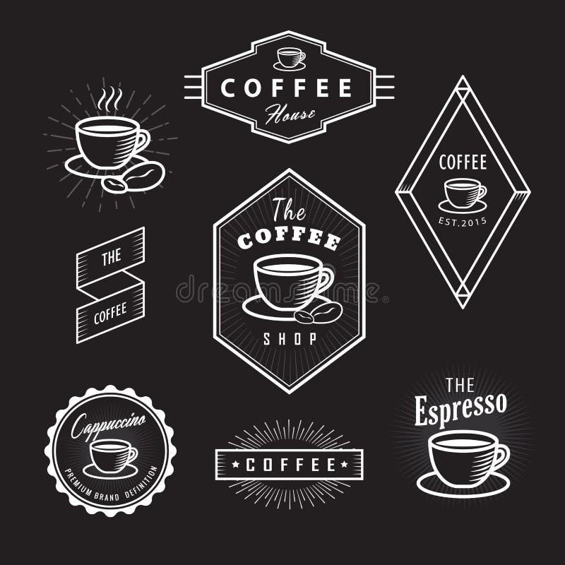 Καθορισμένο καφέ αναδρομικό διάνυσμα πινάκων λογότυπων ετικετών εκλεκτής ποιότητας ελεύθερη απεικόνιση δικαιώματος